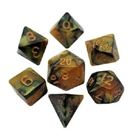 Polyhedral Dice Set (Combo Black-Yellow/Gold)