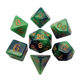 Polyhedral Dice Set (Combo Green-Light Green/Gold)