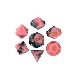 Polyhedral Dice Set (Pink/Black w/Gold)