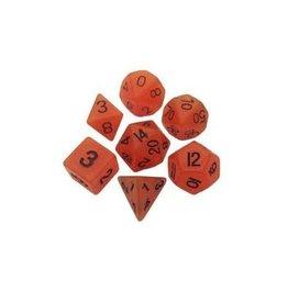 Polyhedral Dice Set (Glow: Orange/Black)