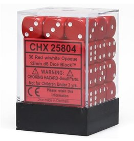12mm D6 Dice Block (Opaque Red w/White)