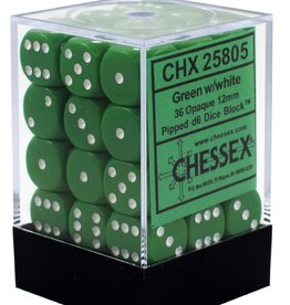 12mm D6 Dice Block (Opaque Green w/White)