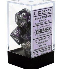 Polyhedral Dice Set (Gemini Purple-Steel w/White)