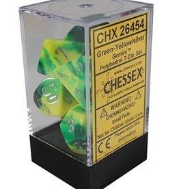 Polyhedral Dice Set (Gemini Green-Yellow w/Silver)