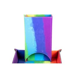 Dice Tower: Fold Up (Velvet - Watercolor Rainbow)