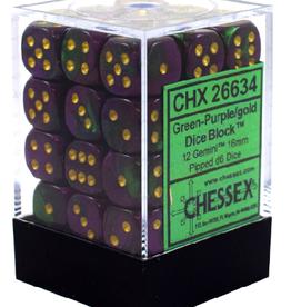 12mm D6 Dice Block (Gemini Green-Purple w/Gold)