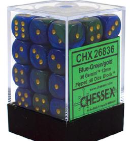 12mm D6 Dice Block (Gemini Blue-Green w/Gold)
