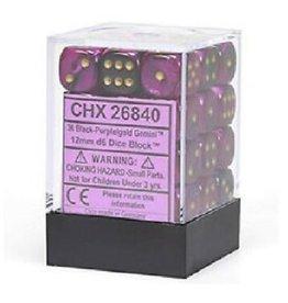 12mm D6 Dice Block (Gemini Black-Purple w/Gold)