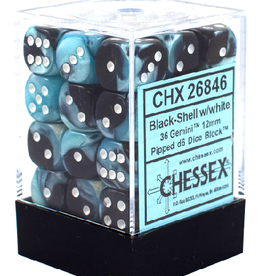 12mm D6 Dice Block (Gemini Black-Shell w/White)