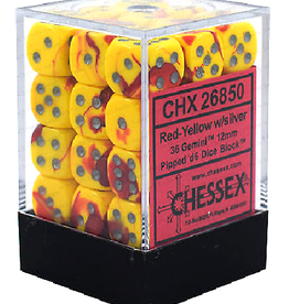 12mm D6 Dice Block (Gemini Red-Yellow w/Silver)