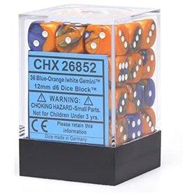 12mm D6 Dice Block (Gemini Blue-Orange w/White)