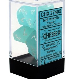 Polyhedral Dice Set (Frosted Teal w/White)