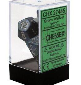 Polyhedral Dice Set (Festive Green w/Silver)
