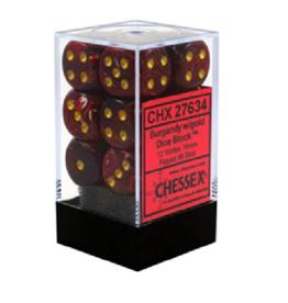 16mm D6 Dice Block (Glitter Ruby Red w/Gold)