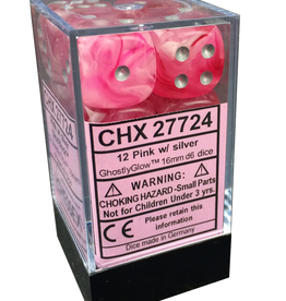 16mm D6 Dice Block (Ghostly Pink w/Silver)