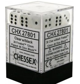 12mm D6 Dice Block (Frosted Clear w/Black)