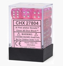 12mm D6 Dice Block (Borealis Pink w/Silver)