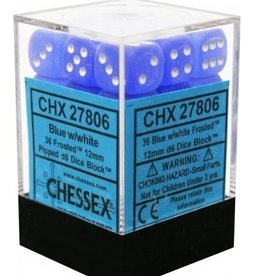 12mm D6 Dice Block (Frosted Blue w/White)