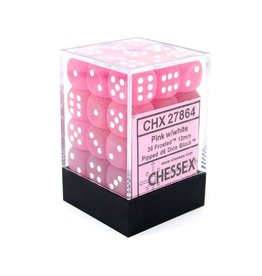 12mm D6 Dice Block (Frosted Pink w/White)