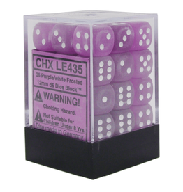 12mm D6 Dice Block (Frosted Purple/White)