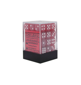 12mm D6 Dice Block (Frosted Red w/White)