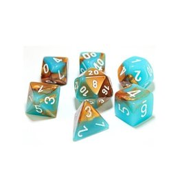 Polyhedral Dice Set (Luminary Gemini, Copper-Turquoise/White)