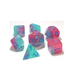 Polyhedral Dice Set (Gemini Luminary, Gel Green-Pink/Blue)