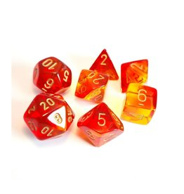 Polyhedral Dice Set (Gemini, Red-Yellow, Gold)