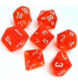 Polyhedral Dice Set (Translucent Orange/White)