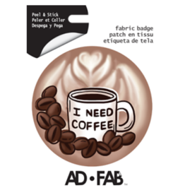 I Need Coffee - Adhesive Fabric Patch