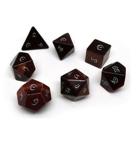 Polyhedral Dice Set - Stone Collection (Tigers Eye, Elven Font)