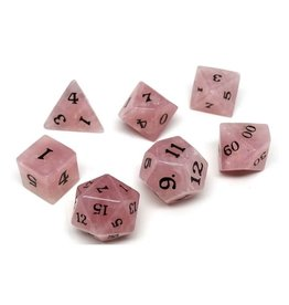 Polyhedral Dice Set - Stone Collection (Rose Quartz, Signature Font)