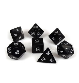 Polyhedral Dice Set - Stone Collection (Obsidian, Signature Font)