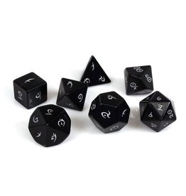 Polyhedral Dice Set - Stone Collection (Obsidian, Elven Font)