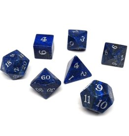 Polyhedral Dice Set - Stone Collection (Lapis Lazuli, Signature Font)