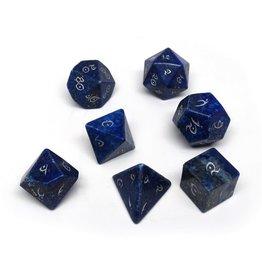 Polyhedral Dice Set - Stone Collection (Lapis Lazuli, Elven Font)