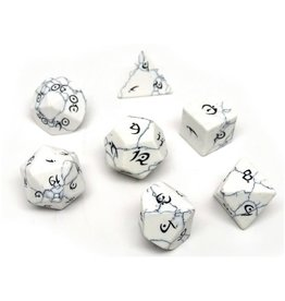 Polyhedral Dice Set - Stone Collection (Howlite, Elven Font)