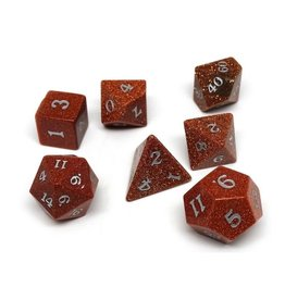Polyhedral Dice Set - Stone Collection (Goldstone, Signature Font)