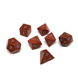 Polyhedral Dice Set - Stone Collection (Goldstone, Elven Font)