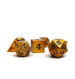 Metal Polyhedral Dice Set (Legendary Gold w/Black Signature)