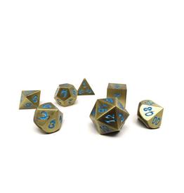 Metal Dice of Ancient Dragons (Ancient Bronze w/Powder Blue Dragon)