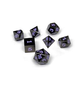 Metal Polyhedral Dice Set (Gunmetal w/Purple Signature)