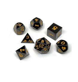 Metal Polyhedral Dice Set (Gunmetal w/Gold Signature)