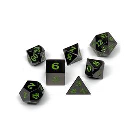 Metal Polyhedral Dice Set (Gunmetal w/Serpent Blood Signature)