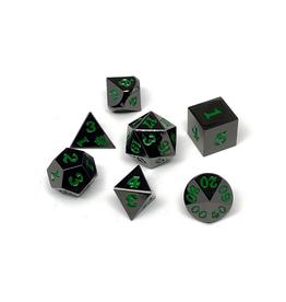 Metal Polyhedral Dice Set (Gunmetal w/Green, Signature Font)