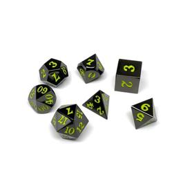 Metal Polyhedral Dice Set (Gunmetal w/Lime Signature)