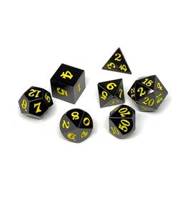 Metal Polyhedral Dice Set (Gunmetal w/Yellow Signature)