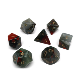 Polyhedral Dice Set - Stone Collection (African Bloodstone, Elven Font)