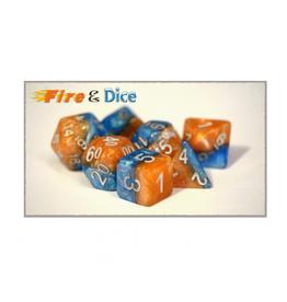 Gate Keeper Games 7-Die Set (Halfsies - Fire/Ice)