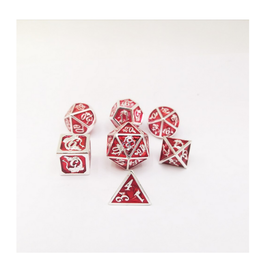 Hymgho Metal Dragon Dice (Solid - Silver w/Red)